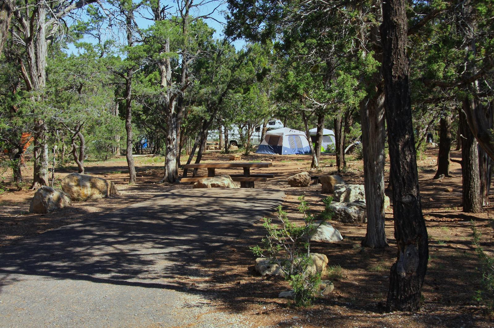 Picnic table, fire pit, and park spot, Mather CampgroundPicnic table, fire pit, and park spot for Oak Loop 238, Mather Campground