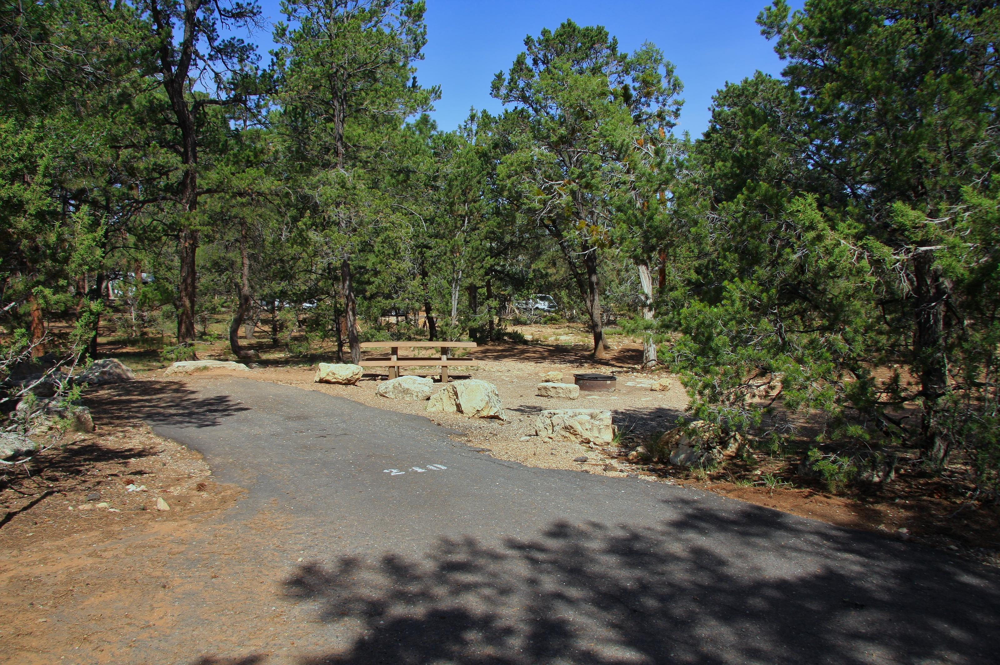 Picnic table, fire pit, and park spot, Mather CampgroundPicnic table, fire pit, and park spot for Oak Loop 240, Mather Campground
