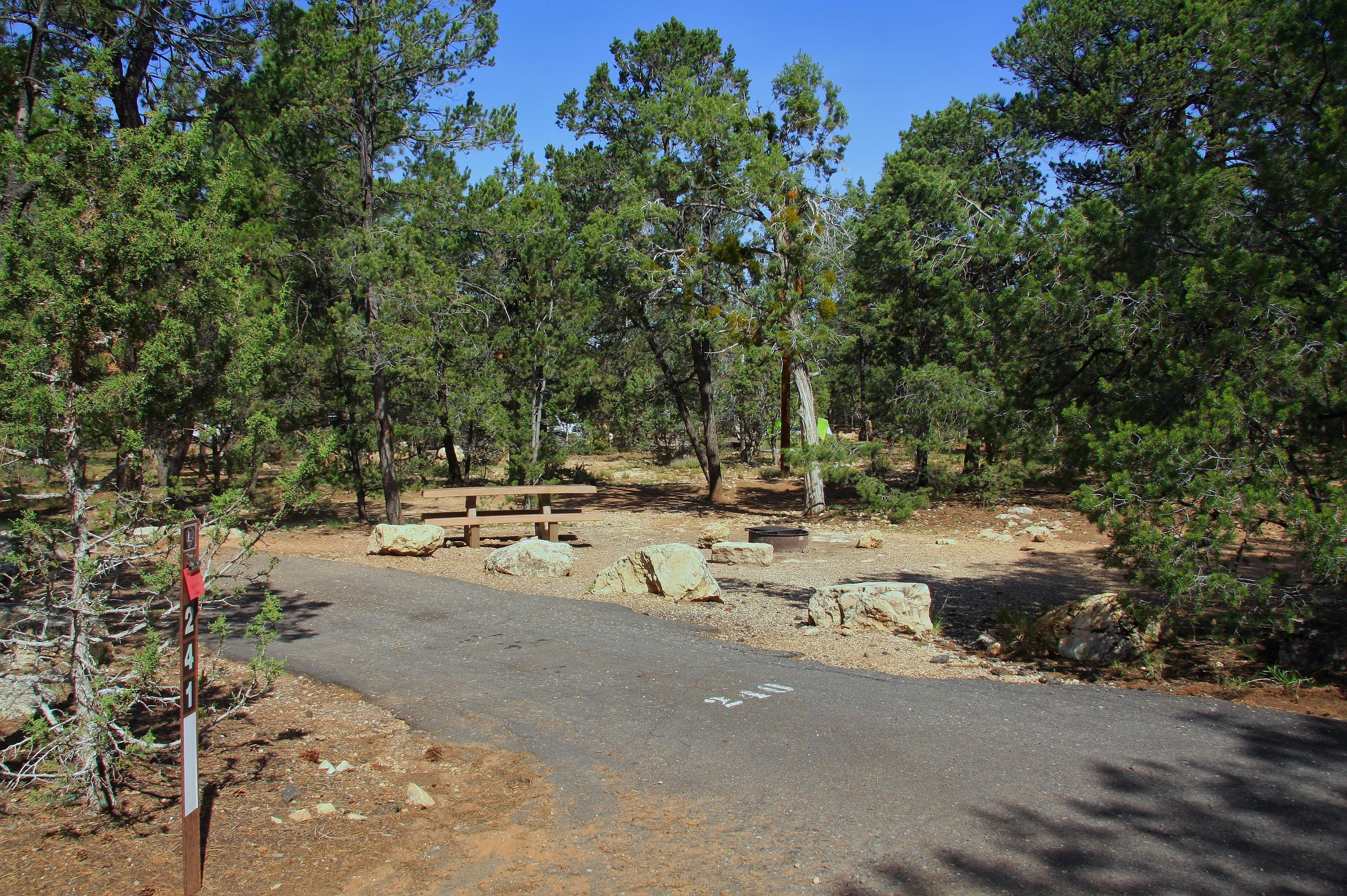 Picnic table, fire pit, and park spot, Mather CampgroundPicnic table, fire pit, and park spot for Oak Loop 241, Mather Campground