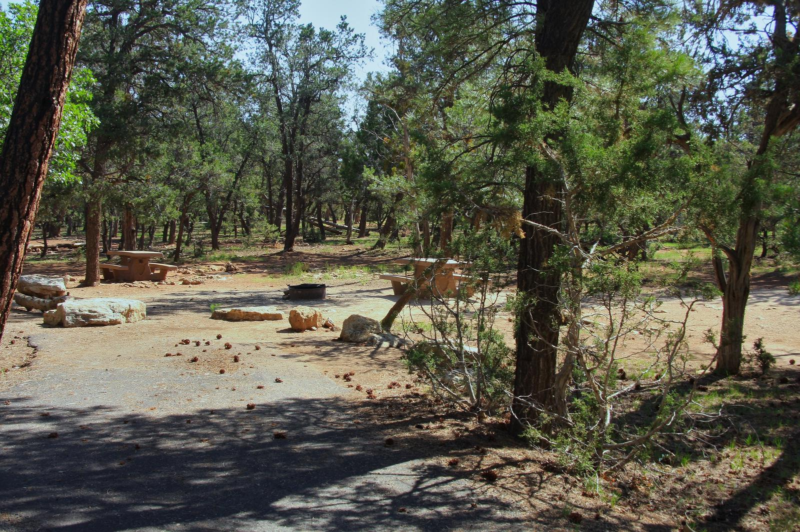 Picnic table, fire pit, and park spot, Mather CampgroundPicnic table, fire pit, and park spot for Oak Loop 246, Mather Campground