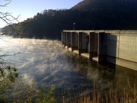 Allatoona Dam on fall morning