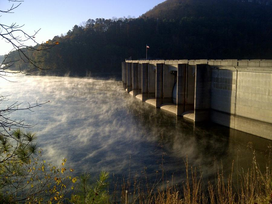 Allatoona Dam on fall morning