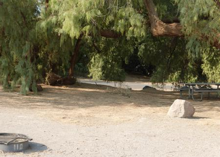 Furnace Creek Campground standard nonelectric tent only drive in site #110 with picnic table and fire ring.