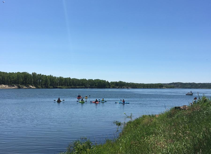 Kayaking on the Missouri River below the Garrison Dam