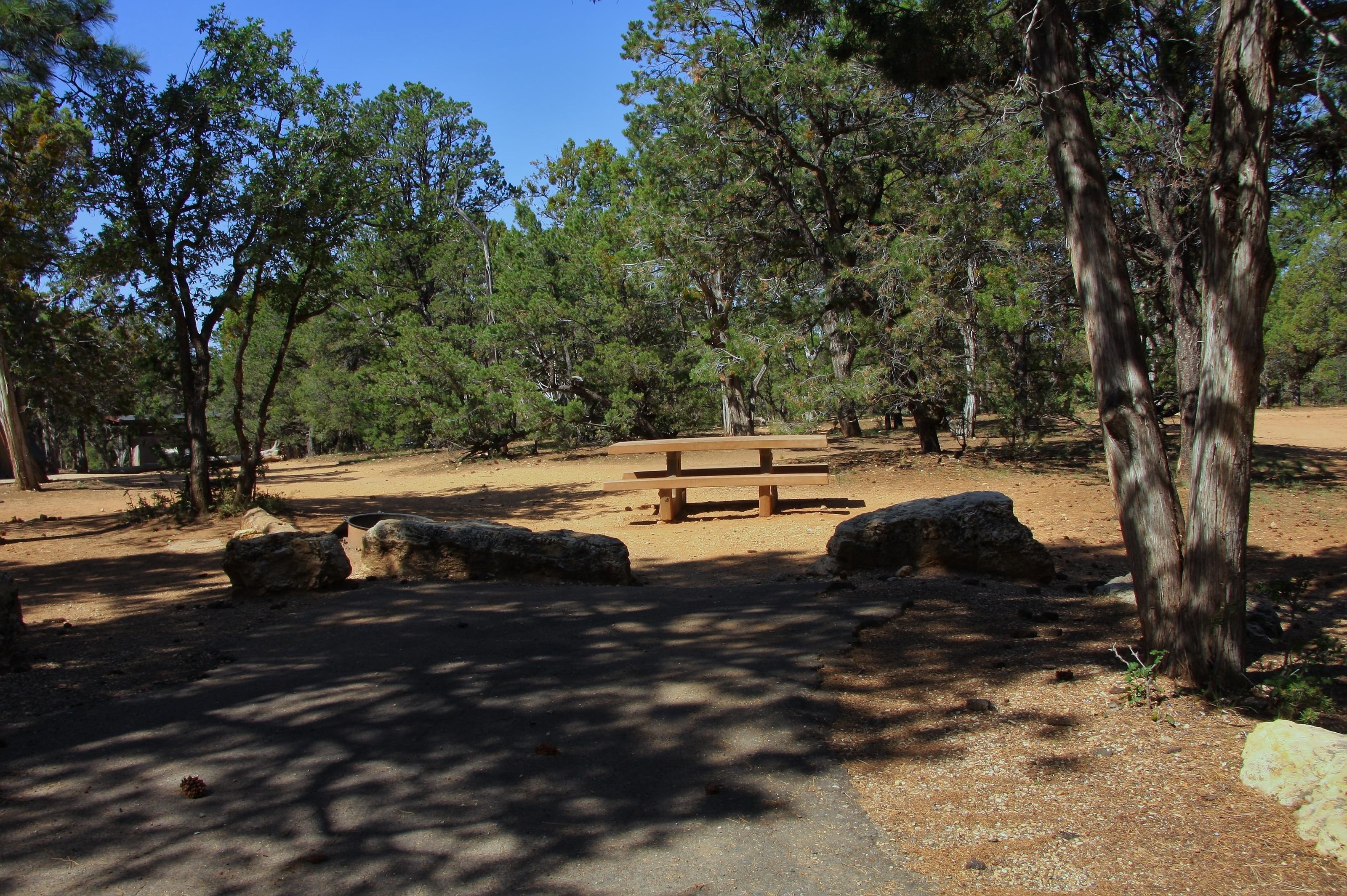 Picnic table, fire pit, and parking spot, Mather CampgroundPicnic table, fire pit, and parking spot for Oak Loop 264, Mather Campground