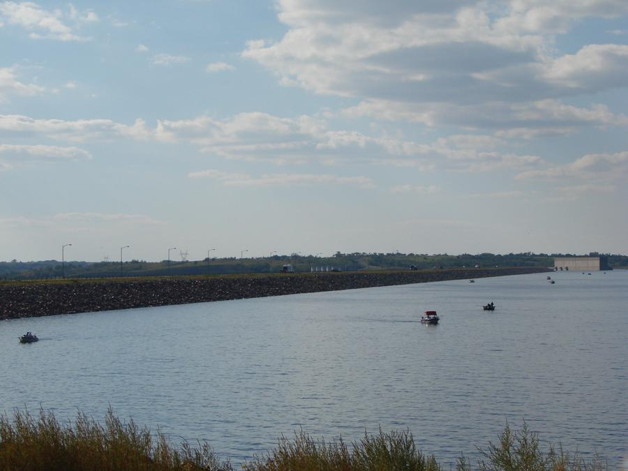 Salmon Fishing on Lake Sakakawea near the Garrison Dam