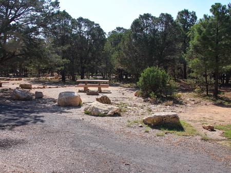 Picnic table, fire pit, and parking spot, Mather CampgroundPicnic table, fire pit, and parking spot for Pine Loop 266A, Mather Campground