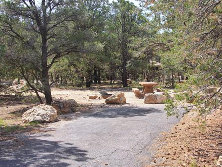 Picnic table, fire pit, and parking spot, Mather CampgroundPicnic table, fire pit, and parking spot for Pine Loop 266B, Mather Campground