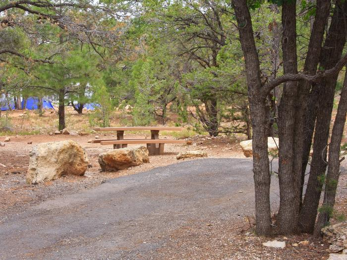 Picnic table, fire pit, and parking spot, Mather CampgroundPicnic table, fire pit, and parking spot for Pine Loop 275, Mather Campground