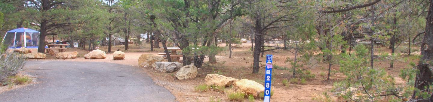 Picnic table, fire pit, and parking spot, Mather CampgroundPicnic table, fire pit, and parking spot for Pine Loop 280, Mather Campground