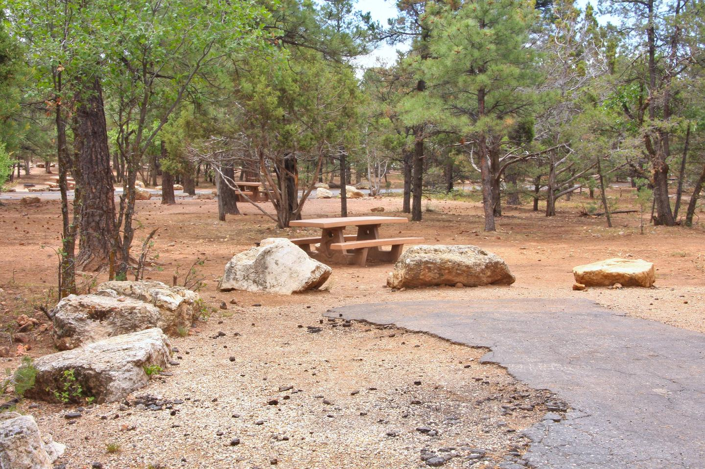 Picnic table and parking spot, Mather Campground