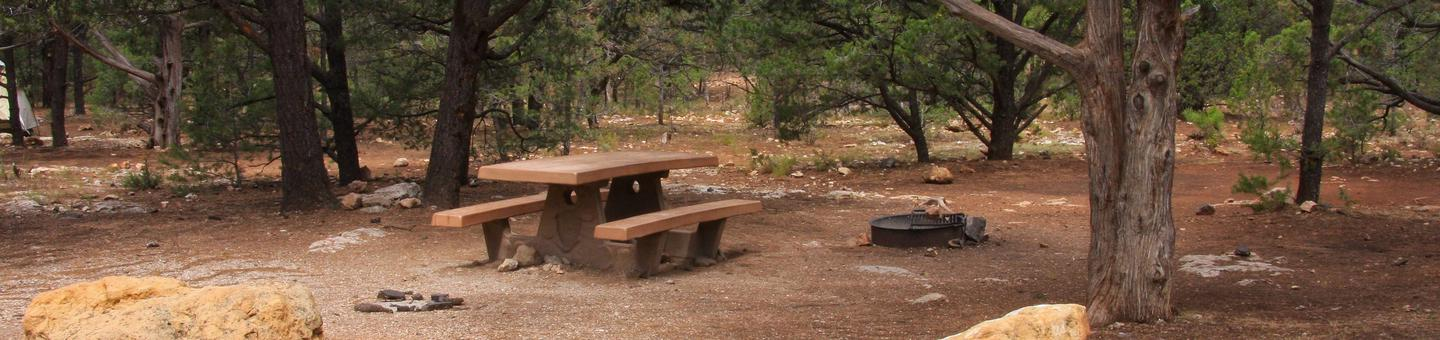 Picnic table, fire pit, and parking spot, Mather CampgroundPicnic table, fire pit, and parking spot for Pine Loop 286, Mather Campground