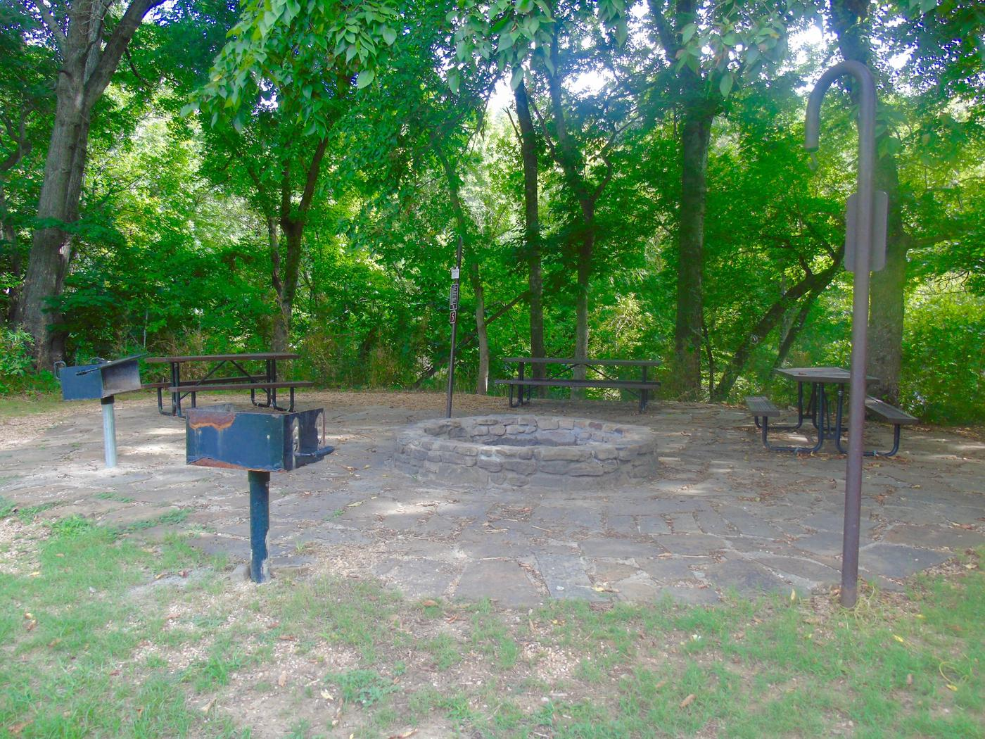 Tyler Bend Group Site 5-1Group Site #5, Three picnic tables; two lantern holders; two charcoal cooking stands; one large fire pit.