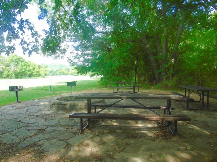 Tyler Bend Group Site 5-2Group Site #5, Three picnic tables; two lantern holders; two charcoal cooking stands; one large fire pit.