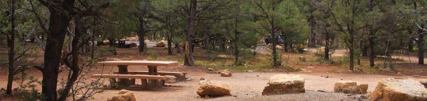Picnic table, fire pit, and parking spot, Mather Campgound