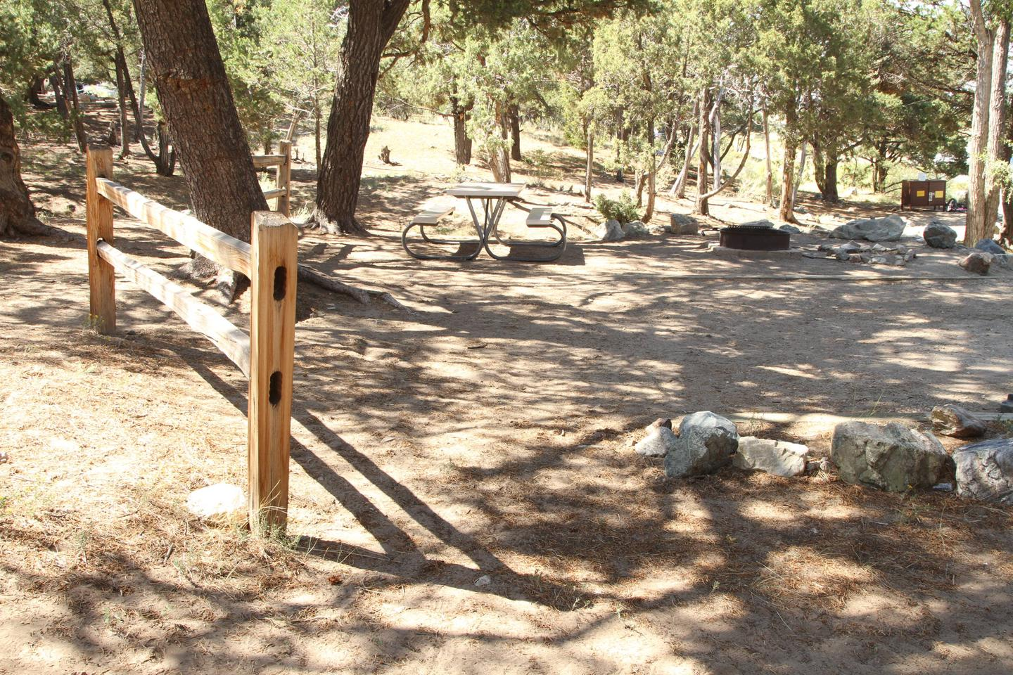Back view of Site #27 designated tent pad, fire ring and picnic table. Bear box from neighboring Site #28 visible in background. This is an out dated photo that does not show changes due to flash flood and fallen tree damage.Site #27, Pinon Flats Campground