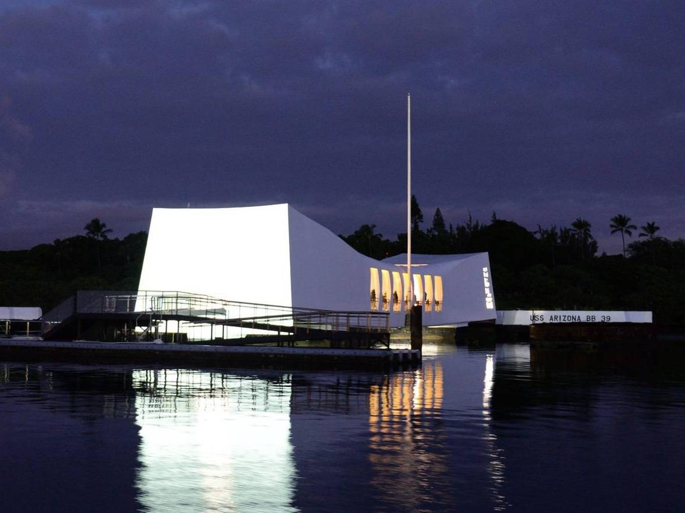 A view of the USS Arizona Memorial in the evening