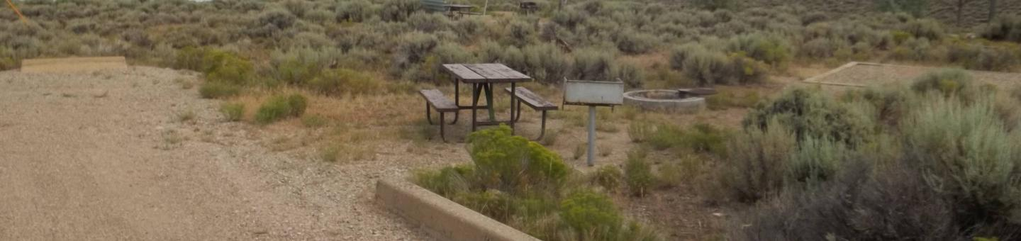 Site that has plenty of parking with picnic table, grill, fire pit, and tent pad.Antelope Flat Campground: Site 44