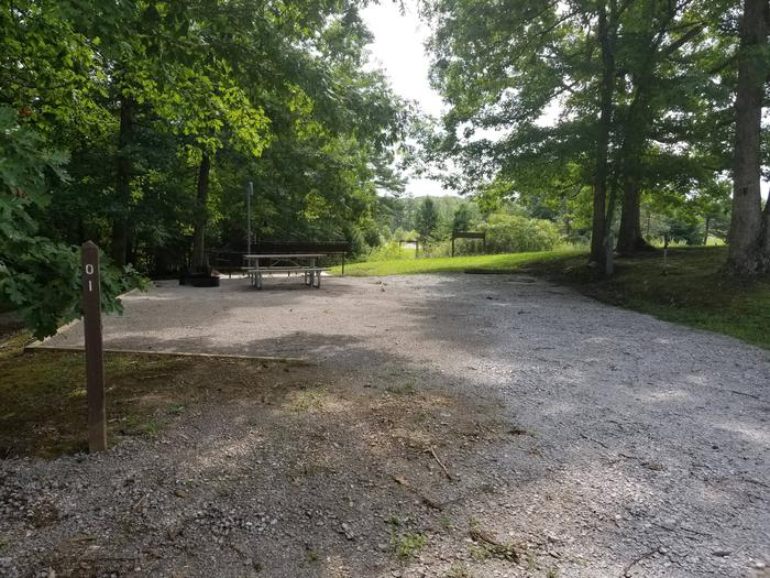Gravel top tent pad with picnic table among tall trees.Site 1 Bear Creek Horse Camp