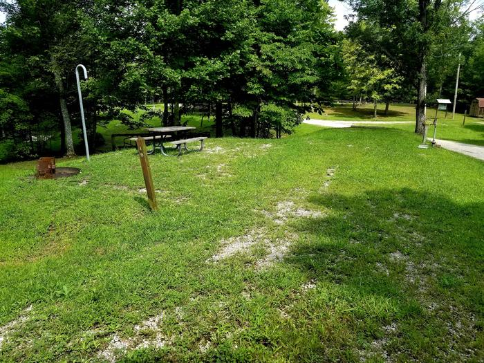 Grassy parking pad and tent pad with picnic table and lantern hook.Site 19 Bear Creek Horse Camp