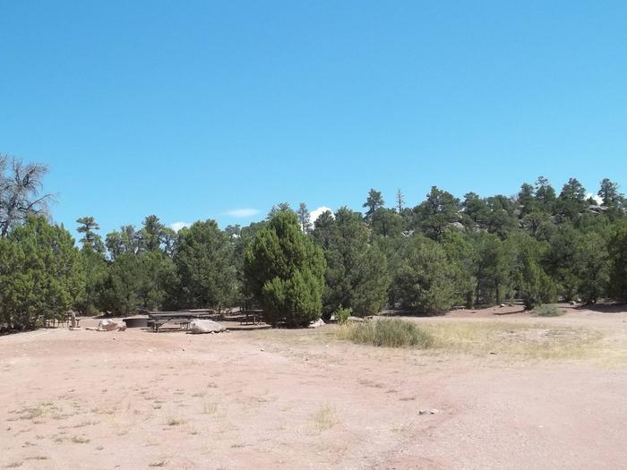 Campground area with Pinyon Juniper around it. Floor is dirt with very little grasses.Arch Dam Campground: Group Site 1