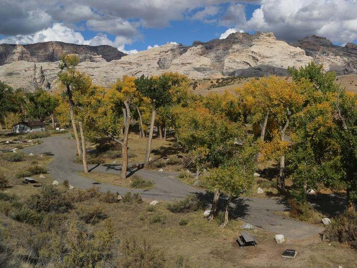 Green River Campground from overlook.Green River Campground