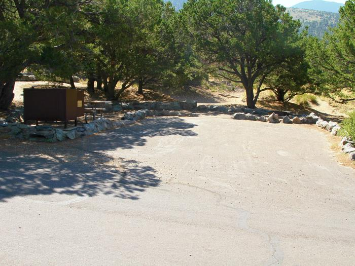 View of Site #68 parking pad and tent site, with picnic table and bear box.Site #68, Pinon Flats Campground