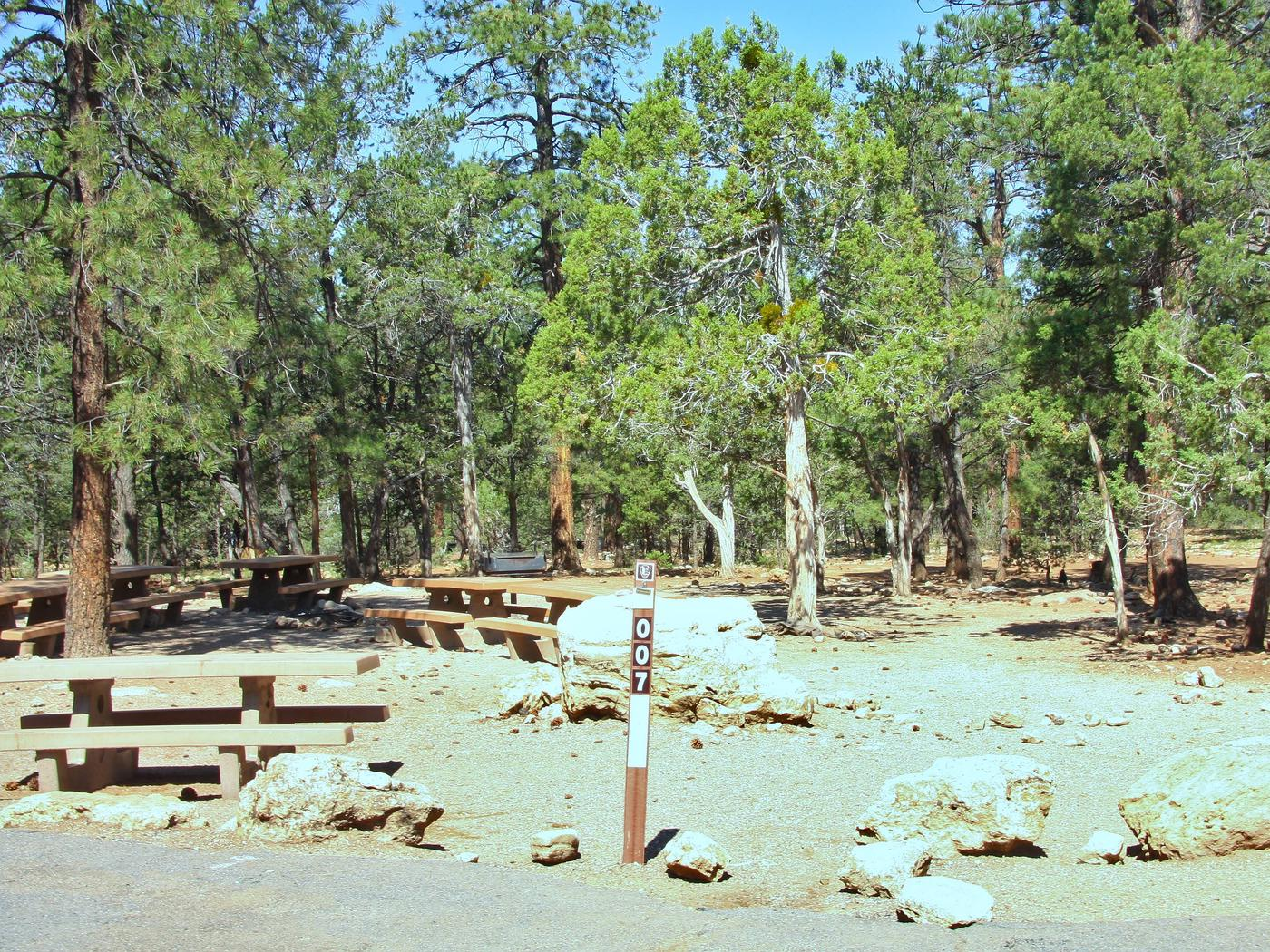 Picnic tables, fire pit, and parking spot, Mather Campground