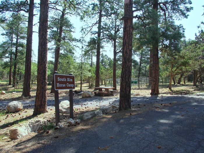 Picnic tables, fire pit, horse corral, and parking spot, Mather Campground