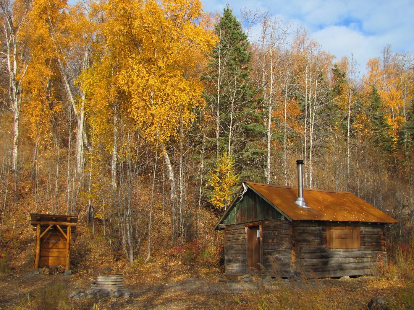 Caribou Island cabin in autumn.
