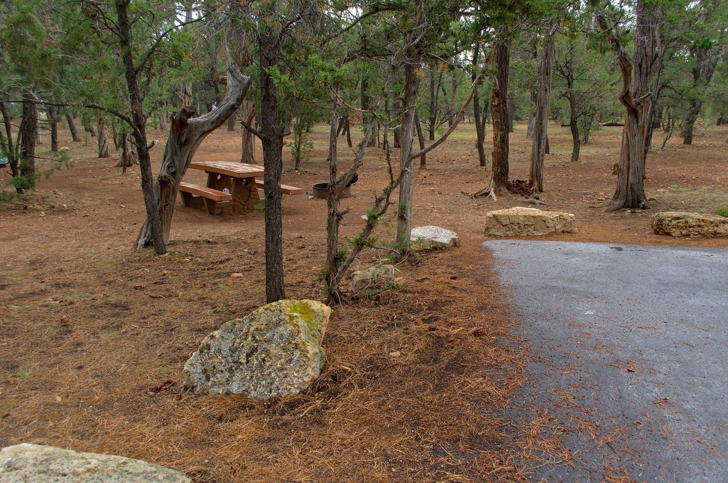 Picnic table, fire pit, and parking spot, Mather Campground8016694822