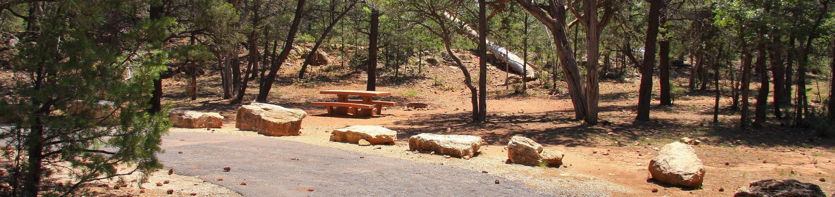 Picnic table, fire pit, and parking spot, Mather CampgroundPicnic table, fire pit, and parking spot for Juniper Loop 215, Mather Campground