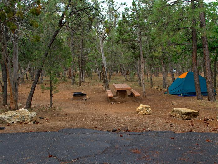 Picnic table, fire pit, and tent, Mather Campground