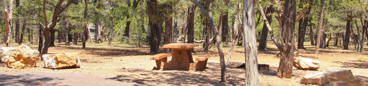 Picnic table, fire pit, and parking spot, Mather CampgroundPicnic table, fire pit, and parking spot for Juniper Loop 131, Mather Campground