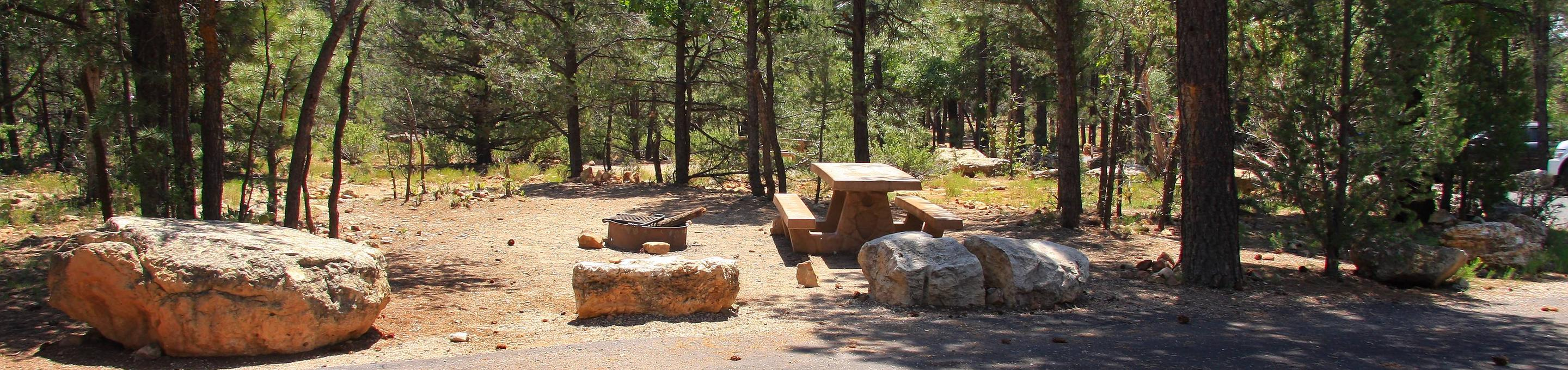 Picnic table, fire pit, and parking spot, Mather CampgroundPicnic table, fire pit, and parking spot for Juniper Loop 137, Mather Campground
