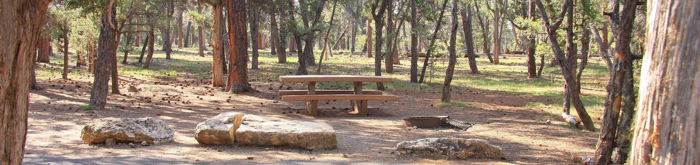 Picnic table, fire pit, and parking spot, Mather CampgroundPicnic table, fire pit, and parking spot for Juniper Loop 180, Mather Campground