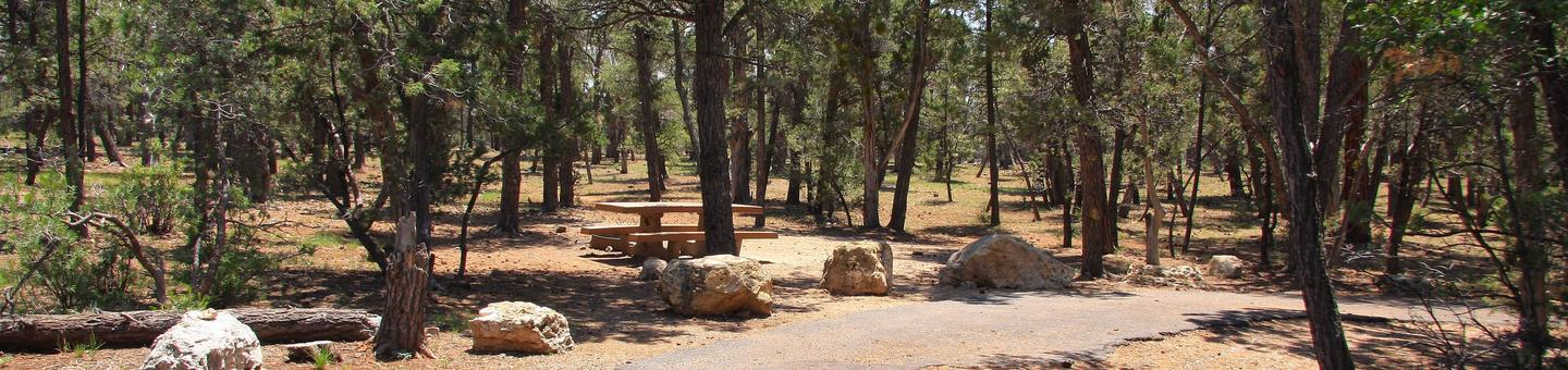 Picnic table, fire pit, and parking spot, Mather CampgroundPicnic table, fire pit, and parking spot for Juniper Loop 182, Mather Campground