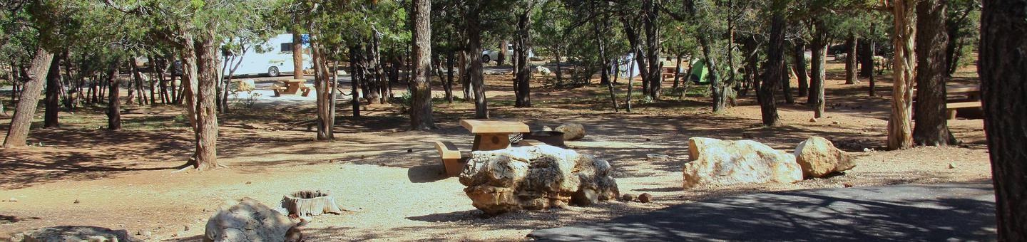 Picnic table, fire pit, and parking spot, Mather CampgroundPicnic table, fire pit, and parking spot for Oak Loop 211, Mather Campground