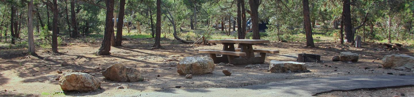 Picnic table, fire pit, and parking spot, Mather CampgroundPicnic table, fire pit, and parking spot for Aspen Loop 218, Mather Campground
