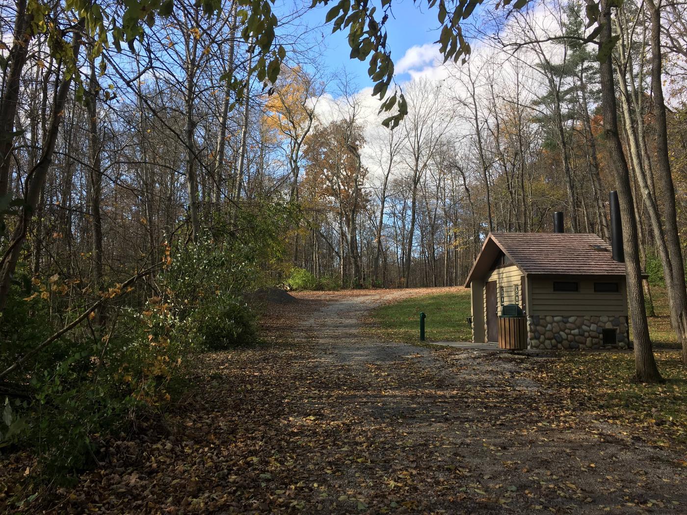 DELAWARE LAKE DAMSITE SHELTERSVault restroom along walking trail