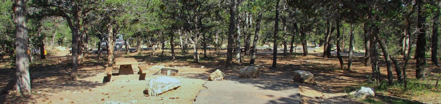 Picnic table, fire pit, and parking spot, Mather CampgroundPicnic table, fire pit, and parking spot for Oak Loop 221, Mather Campground