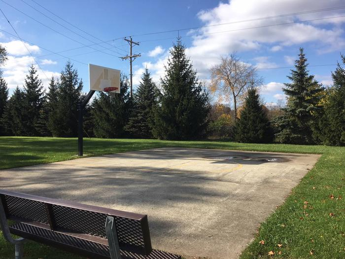 DELAWARE LAKE DAMSITE SHELTERSSingle hoop basketball court near shelters and playground
