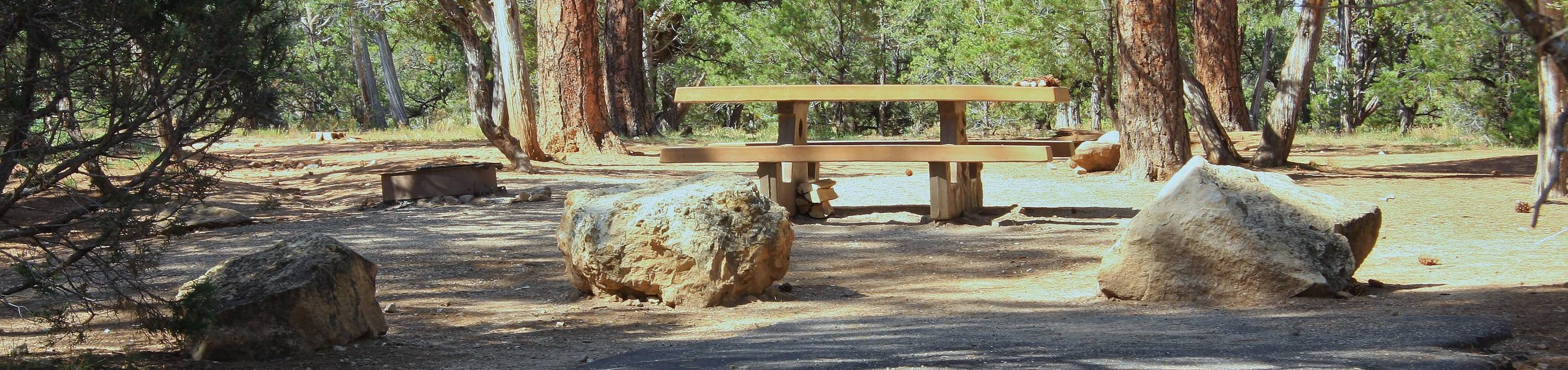 Picnic table, fire pit, and park spot, Mather CampgroundPicnic table, fire pit, and park spot for Oak Loop 261, Mather Campground