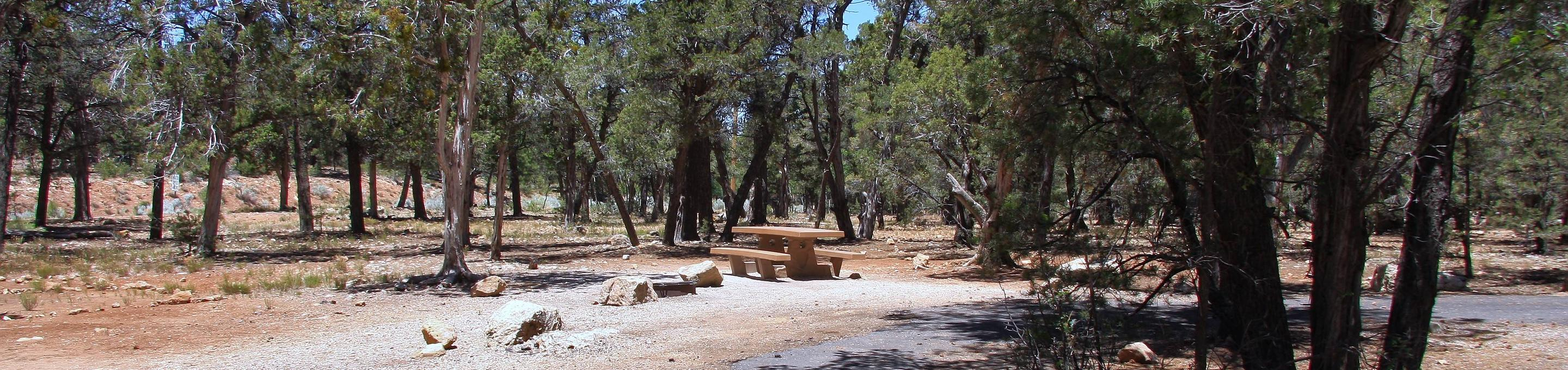 Picnic table, fire pit, and parking spot, Mather CampgroundPicnic table, fire pit, and parking spot for Fir Loop 77, Mather Campground