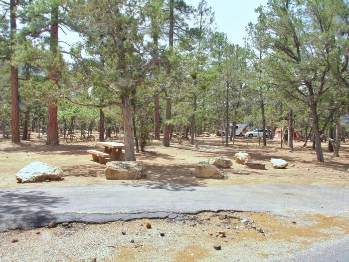 Fire pit, parking spot, and picnic table, Mather CampgroundThe fire pit, parking spot, and picnic table for Aspen Loop 7, Mather Campground