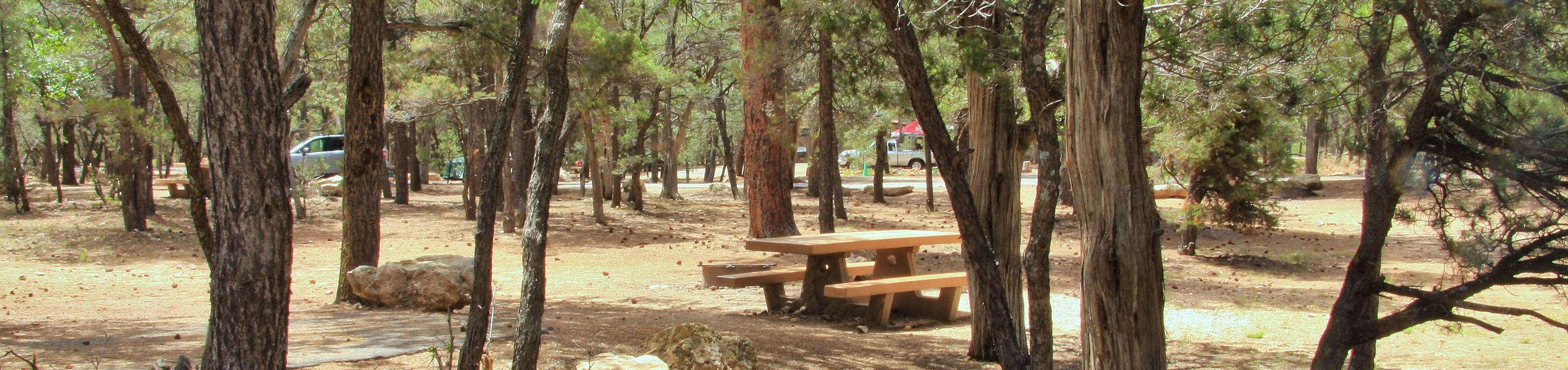 Picnic table and parking spot, Mather CampgroundThe picnic table and parking spot for Aspen Loop 12, Mather Campground