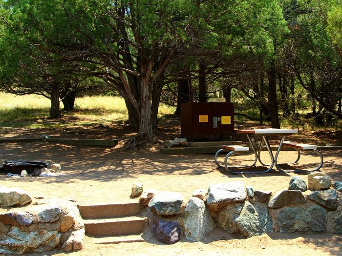 View of Site #55 tent site, stairs, fire ring, picnic table, and bear boxSite #55, Pinon Flats Campground
