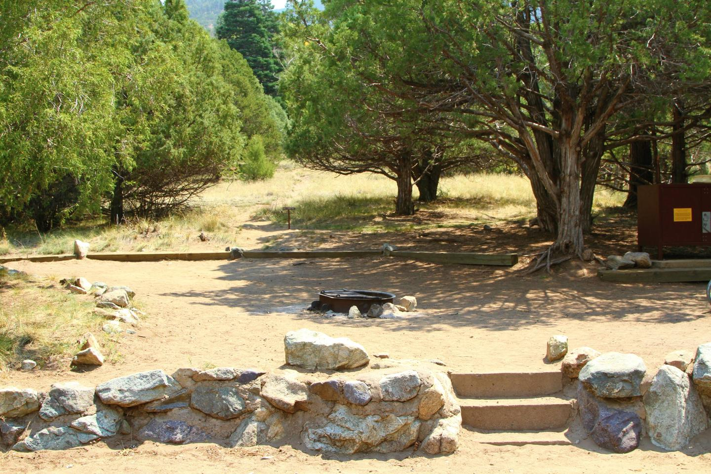 Closer view of Site #55 tent pad, showing stairs, fire ring, and bear box.Site #55, Pinon Flats Campground
