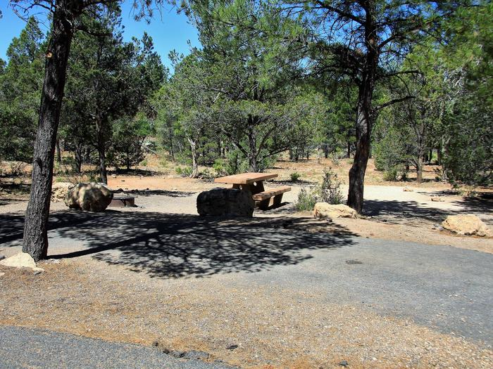 Picnic table, fire pit, and parking spot, Mather CampgroundThe picnic table, fire pit, and parking spot for Aspen Loop 32, Mather Campground