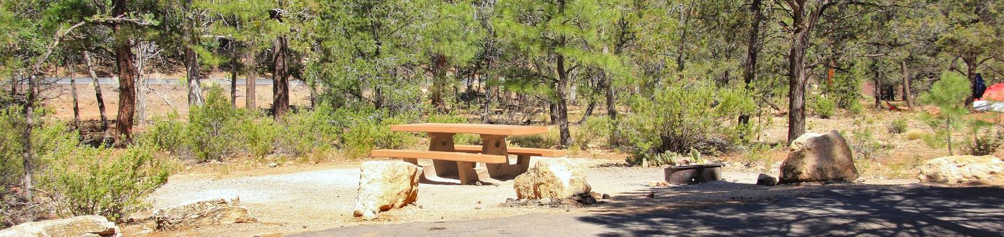 Picnic table, fire pit, and parking spot, Mather CampgroundThe picnic table, fire pit, and parking spot for Aspen Loop 34, Mather Campground